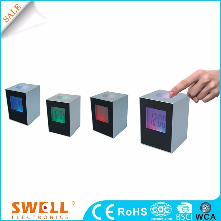 7 led change color change digital multifunction alarm clock , Colorful light changing LCD clock with pen holder