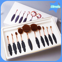 OE quality toothbrush shape bold metal handle customized rose gold oval makeup brush set with specialized carton box