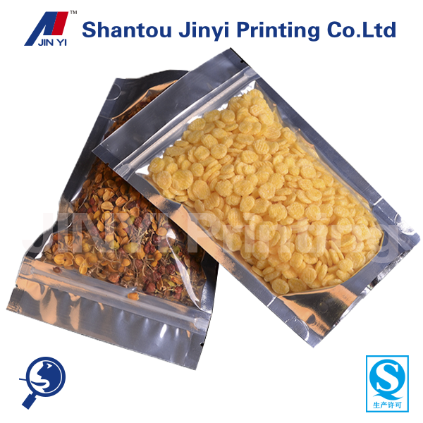 Stand up aluminium foil back clear front plastic bag without printing for dried food