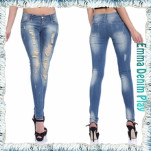 2015 new fashion super distressed washed womens indigo skinny denim jeans for lady