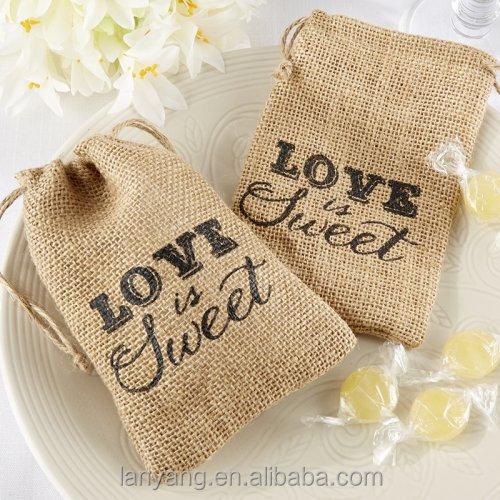 El amor es dulce hecho a mano estilo tradicional bolsa de Burlap bag decorating ideas