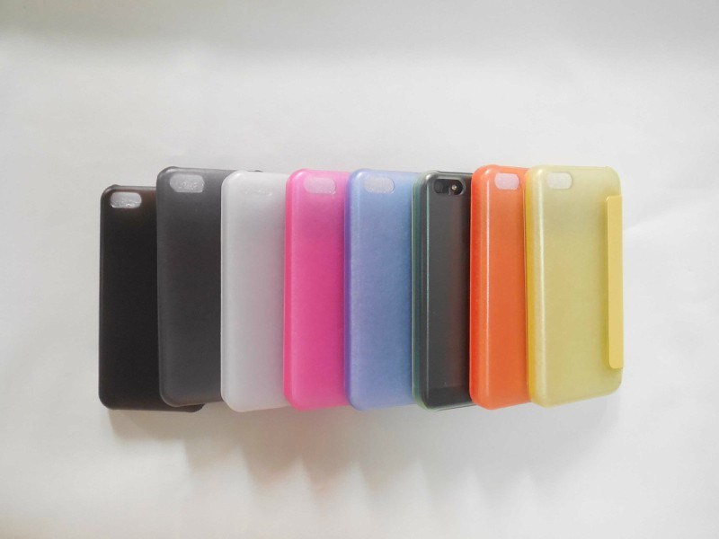 HOt Hard Clear Back Case Cover With Window View Front Leather Case for iPhone 5C