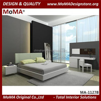 MA-1127B 2015 Home furniture Bedroom Set Design White Wooden Double Bed