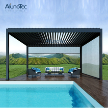 Metal Aluminium Outdoor Gazebo With Adjustable Louvres Roof