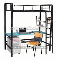 School furniture wholesale cheap custom wrought iron metal bunk beds with desk