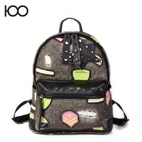 Leather shoulder bag boys and girls in the small backpack schoolbag cartoon new fashion PU white