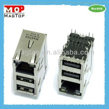 10/100/1000 Base-TX RJ45 Dual USB Combo Connector Transformer and magnetic
