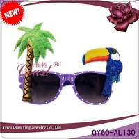 Purple colored plastic coconut trees woodpecker tropical beach party sunglasses