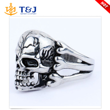 High quality Gothic Men's Skull Flower Biker Zinc alloy Ring fashion rings