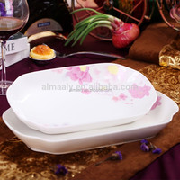 House ware Flat rectangular porcelain oval plate with decal