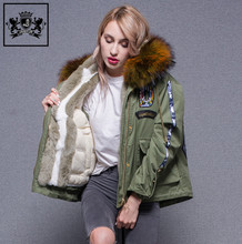 Fashionable beautiful design down coats rabbit fur trim parka woman winter jacket with big raccoon fur hood