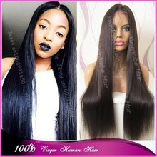 "Best 6A Quality 26"" extra long silk straight virgin malaysian ponytail lace front wig for black women"