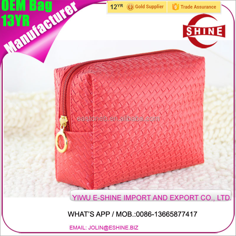 knitted design PU leather Make up bag