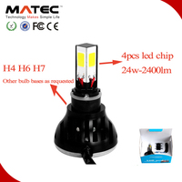 2015 wholesale high lumen 3 sides light led headlight for motorcycles with H1,H3,H4,H7,H11,H13,9004,9005,9006,9007,5202