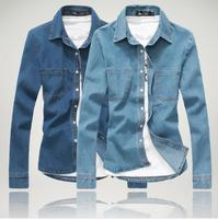 2016 Latest Designs fashion double pocket casual shirt long sleeve men wash denim shirts M-2XL
