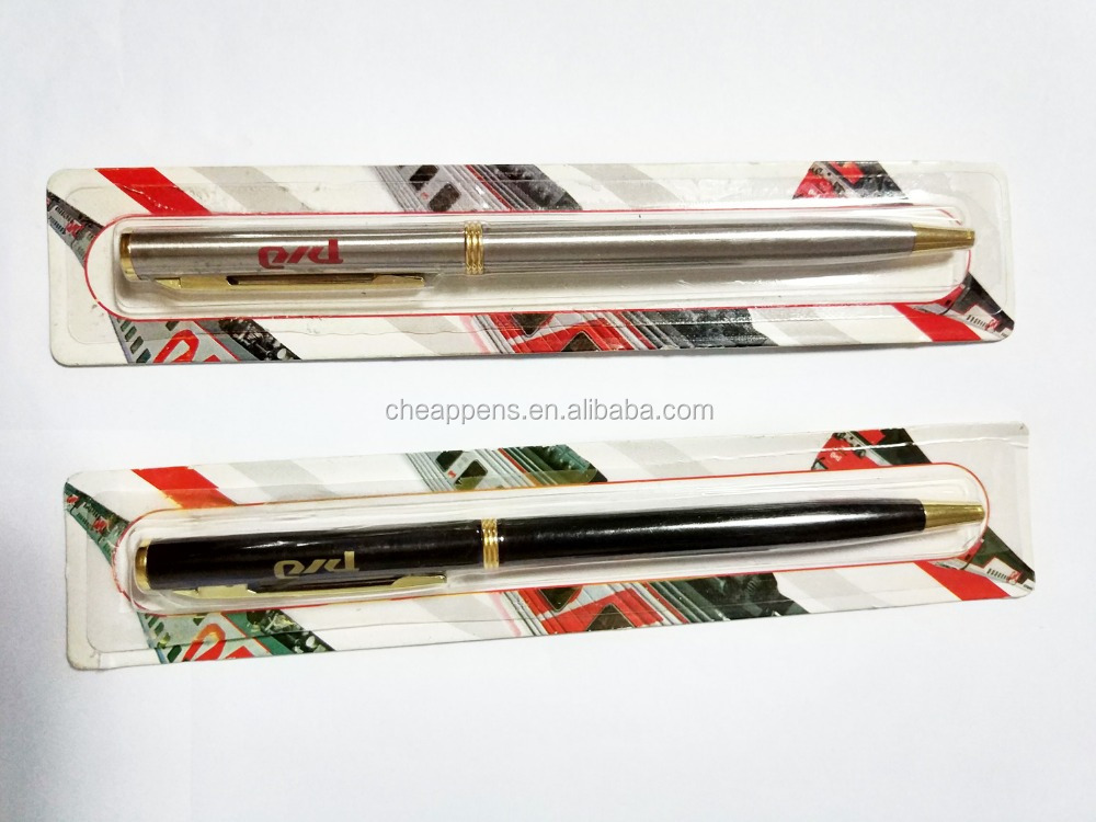 stock sell blister card pack slim metal ball pen for russia railway company gift