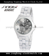 White color ceramic look lady watches wrist watch