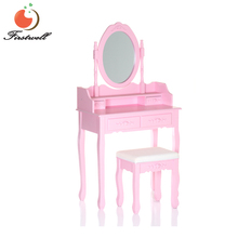 French style bedroom dressing furniture pink white dressing table stool mirror vanity set with adjustable mirror