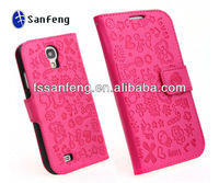 Guangzhou Factory Carton Leather Case For Sam S4,Wallet Phone Cases For Samsung Galaxy S4 i9500