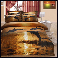 Queen king size big flower dolphine polyester 4pcs bedding set