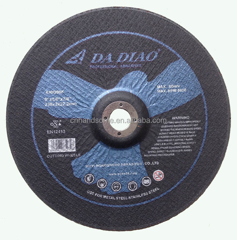 "9""inch 230x3x22.2mm Abrasive grinding disc With MPA EN-12413"