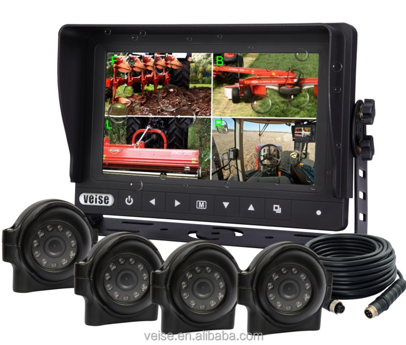 4 channels weatherproof quad monitor for tractor