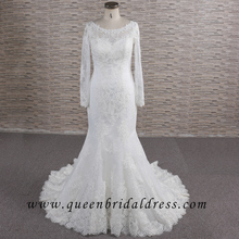Brilliant 3/4 Long sleeves Applique Lace wedding dress patterns