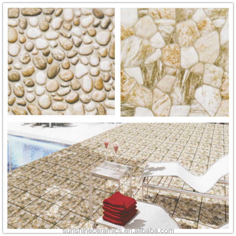 Non Slip Natural Stone Look Ceramic Swimming Pool Tile