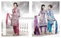 Long fancy lace design printed salwar kameez