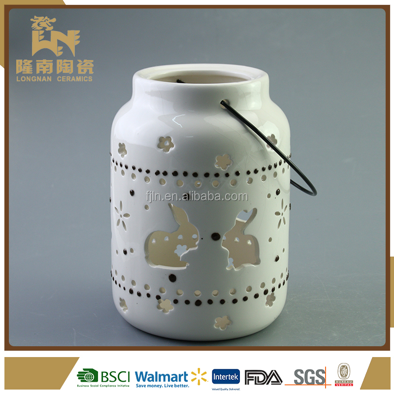 white ceramic crafts gifts hand lantern decorative for easter