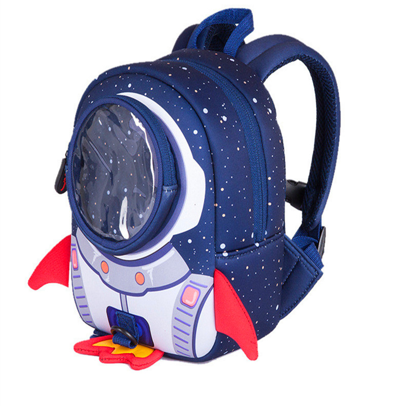 3D Cartoon Rocket Kids Bags Preprimary Children Shoulder Backpacks Prevent Child Lost Funny Kids Backpack School Bag