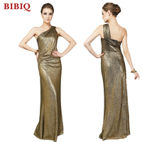 New Fashion One Shoulder Women Dresses Bodycon Gold Evening Gown Sexy