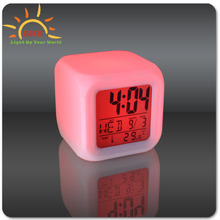 2017 LED Clock with cube shaped Led table clock