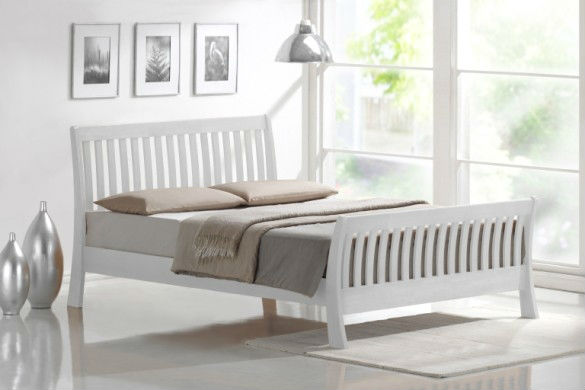 Rustic Range solid oak wood white color double size bed