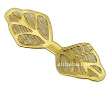 Brass Net Flake Findings, Unplated, Leaf, about 14x40x0.5mm(KK-Q066-C)