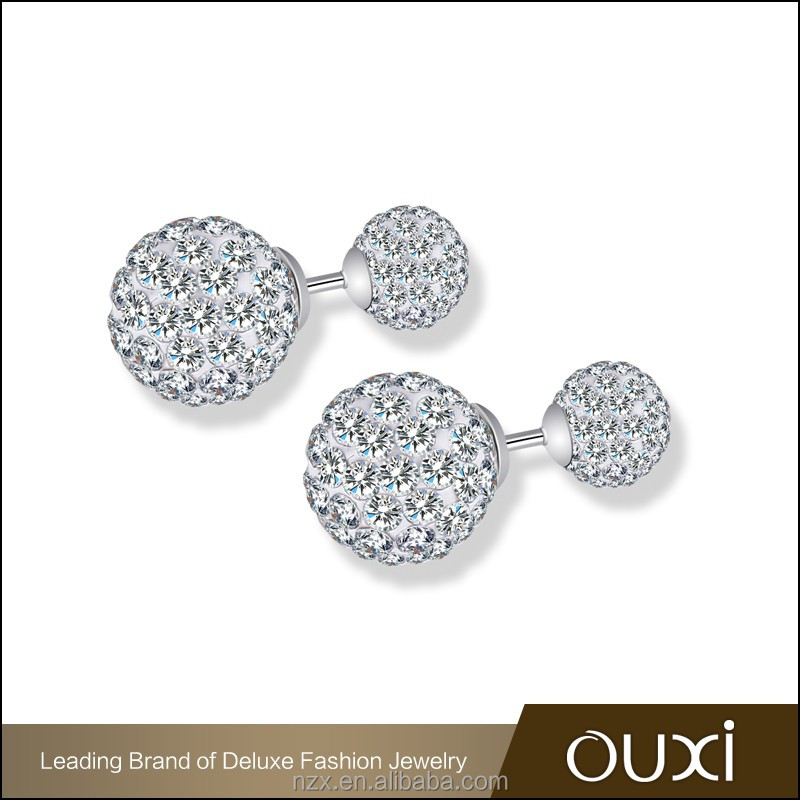 OUXI 2016 High quality fashion desgin double Crystal ball 925 silver diamond stud earrings Y20445