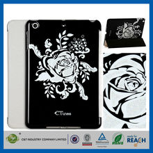 C&T Black bloom silver foil pc flip leather case smart cover wallet for ipad mini