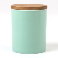 12oz 350ml Unique Blue Color Ceramic Porcelain Cookie Biscuit Canister Tin With Bamboo Wooden Lid Set