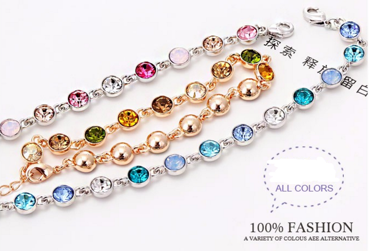 Fashion Elegant Jewelry Crystal Women Jewelry Wholesale Summer Design Colorful Austrian Crystals Chain Bracelet