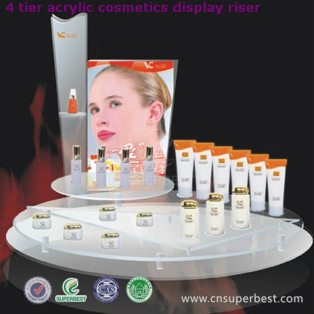 4 tier acrylic cosmetics display riser