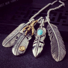 New retro turquoise feather necklace ladies long pendants sweater necklaces jewelry wholesale