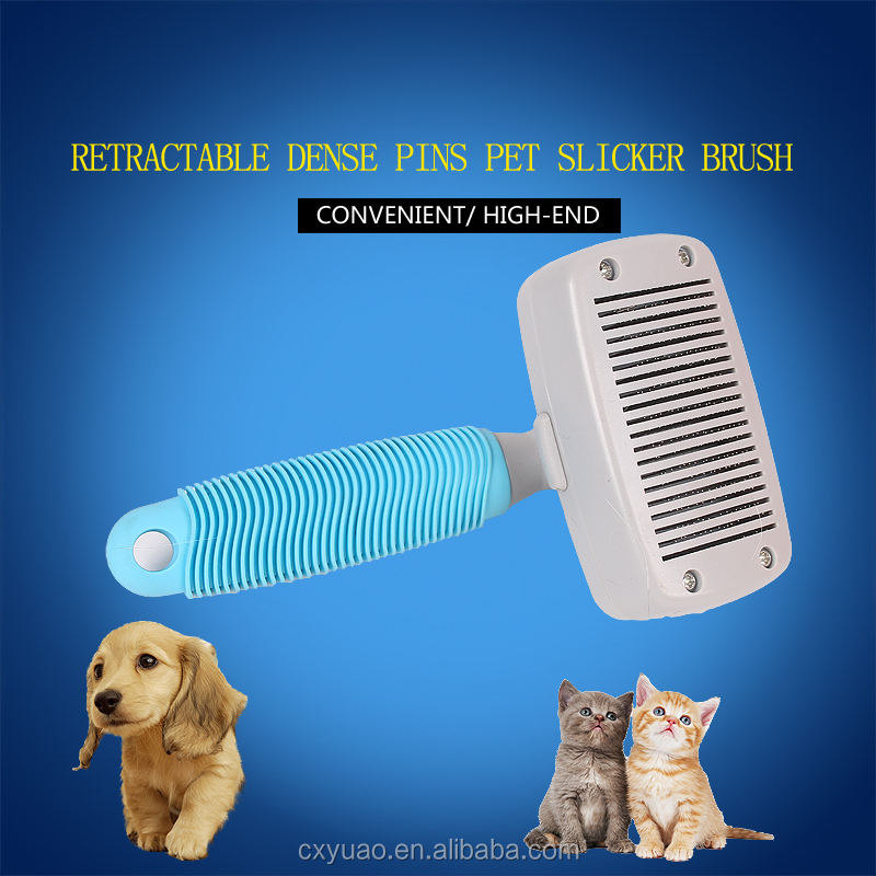 Wholesale OEM logo printing retractable dense pins dog slicker brush pet magic hair trimmer comb