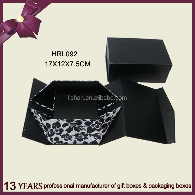 Black Color Strong Cardboard Foldable Gift box With Flower Printing