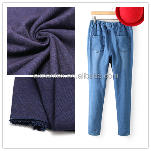 china suppliers knitting cotton jeans Indigo denim fabric