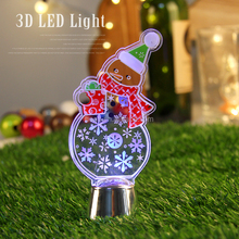 Custom Shape Snowman 3D Light Acrylic Material Night Light 3D Creative LED Lamp For Children Bedroom 3D illusion Night Lamp