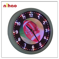 2015 New Style Round Illuminated Neon Wall Clock