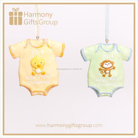 Yellow and Green Polyresin Baby Clothes with Chicken and Monkey Ornament Decor