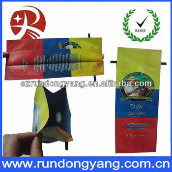 aluminum foil side/bottom gusset coffee bags with valve/coffee packaging bag