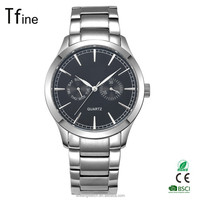 Luxury Big Face Watches For Men Dress Watch Stainless Steel Dual Time/chronograph