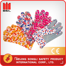China hot selling top quality low price SLG-313 cotton drill garden working safety gloves with PVC dots on palm